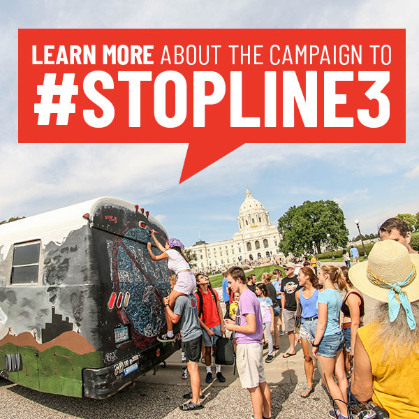Stop Line 3 School Bus Gathering Signatures at MN Capitol for Youth Climate Strikes 2019